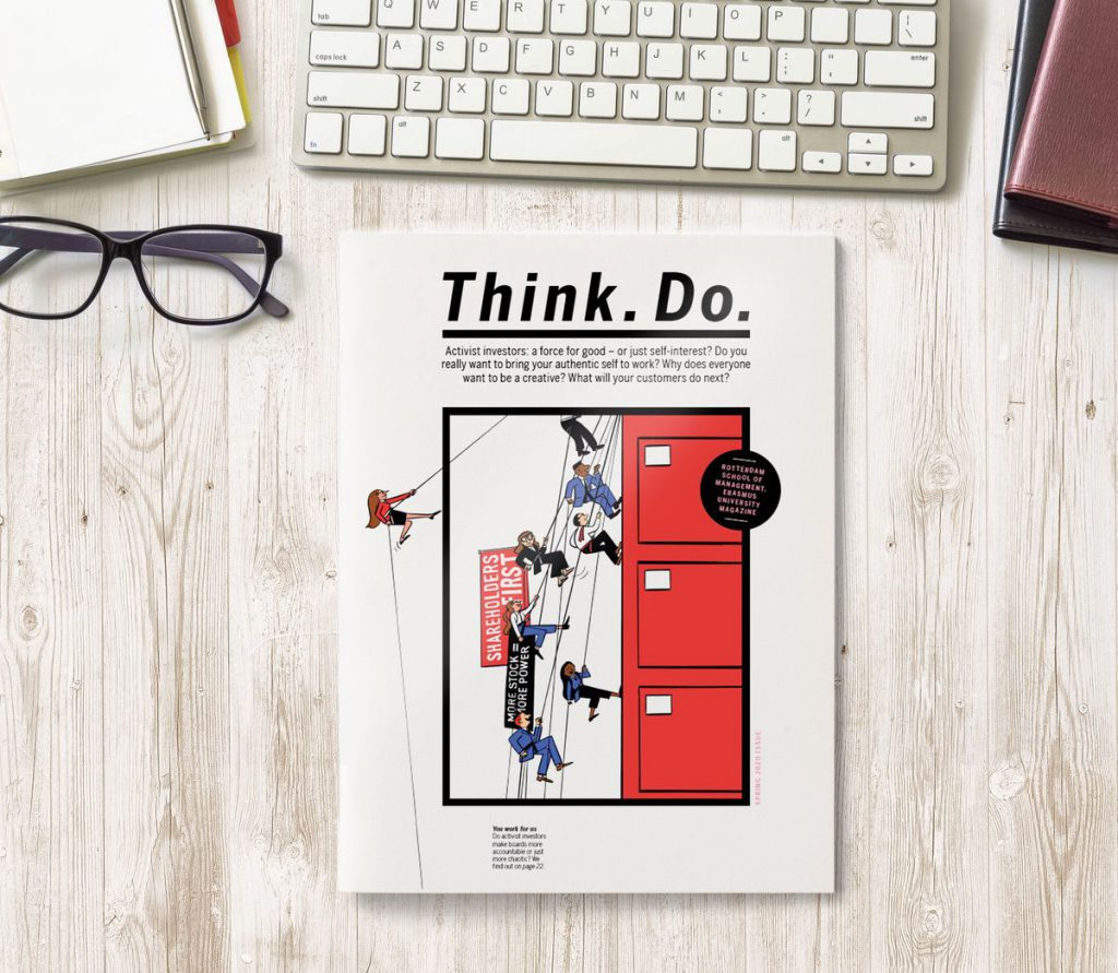 A copy of the new magazine - called Think.Do. - lies on a table