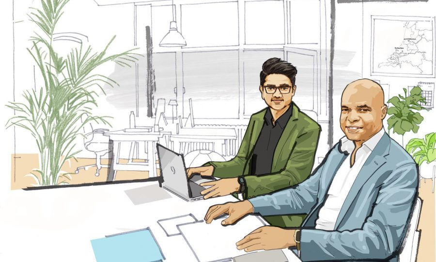 Illustration of two alumni sitting together in an office