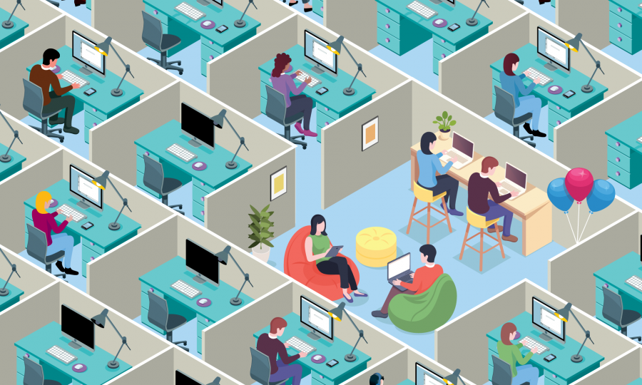 A start-up office amongst a group of cubicles